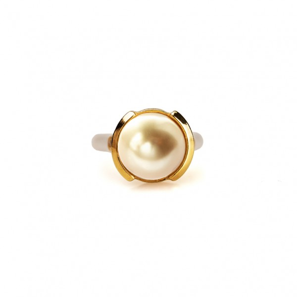 Pearl Gold ring med gummiband